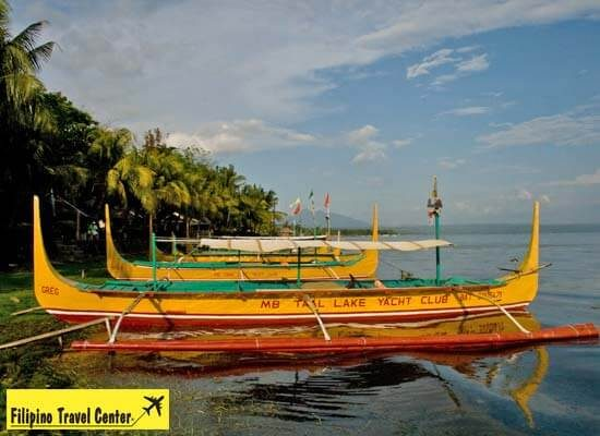 View of boat docked at Taal Lake Yatch club